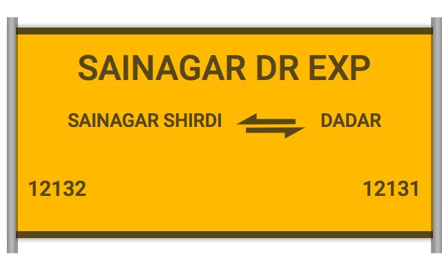12132 Sainagar Dr Exp - Sainagar Shirdi to Dadar : Train Number