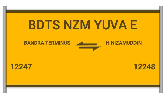 12247 Bdts Nzm Yuva E - Bandra Terminus to H Nizamuddin : Train
