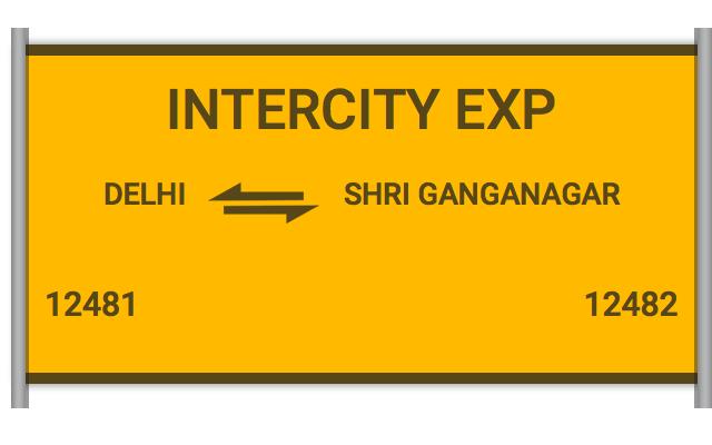 12481 Intercity Exp - Delhi to Shri Ganganagar : Train Number
