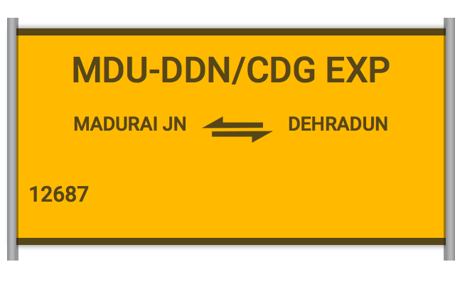 12687 Dehradun Exp - Madurai Jn to Dehradun : Train Number