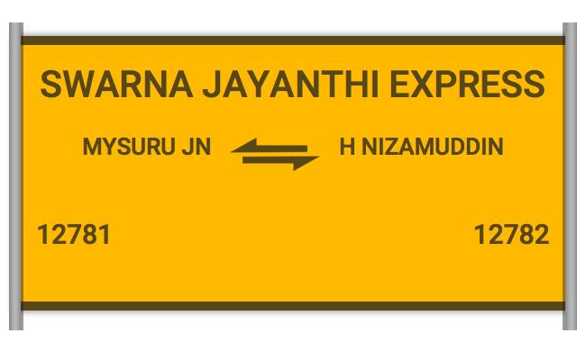12781 Swarna Jayanthi - Mysuru Jn to H Nizamuddin : Train