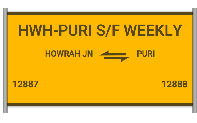 HWH-PURI S/F WEEKLY - 12887 Train Schedule