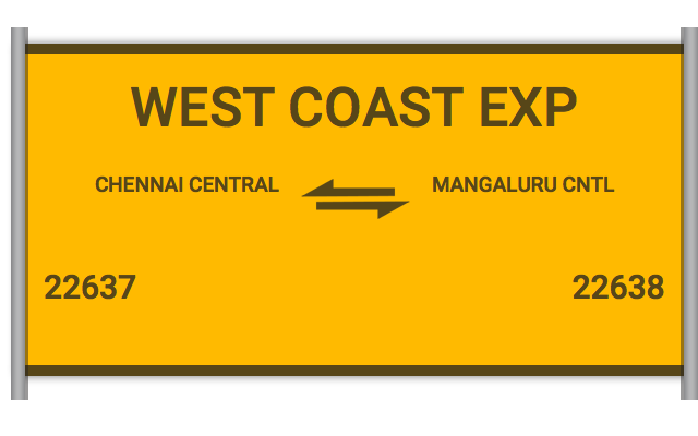 22637 West Coast Exp - Chennai Central to Mangaluru Cntl : Train
