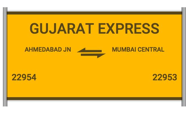 22954 Gujarat Express - Ahmedabad Jn to Mumbai Central